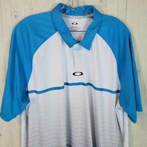 Oakley Regular Fit Men's Golf Shirt XXL Blue White